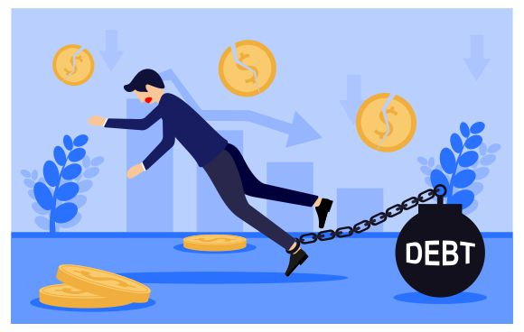 Download Free Men In Debt Because Financial Crisis Graphic By Redvy Creative for Cricut Explore, Silhouette and other cutting machines.