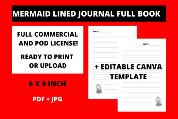 Print on Demand: Mermaid Lined Journal + Canva Template Graphic KDP Interiors By Fleur de Tango