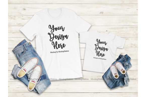 Download Free Mommy And Me White Tshirt Mockup Graphic By Mockup Station for Cricut Explore, Silhouette and other cutting machines.