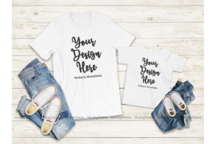 Print on Demand: Mommy and Me White Tshirt Mockup Graphic Product Mockups By Mockup Station