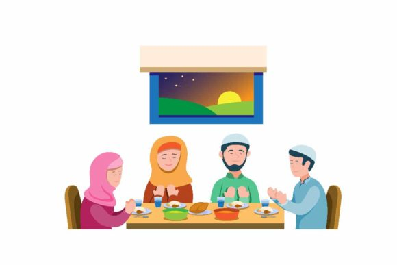 Download Free Muslim Family Pray Before Meal To Vector Graphic By Aryo Hadi for Cricut Explore, Silhouette and other cutting machines.