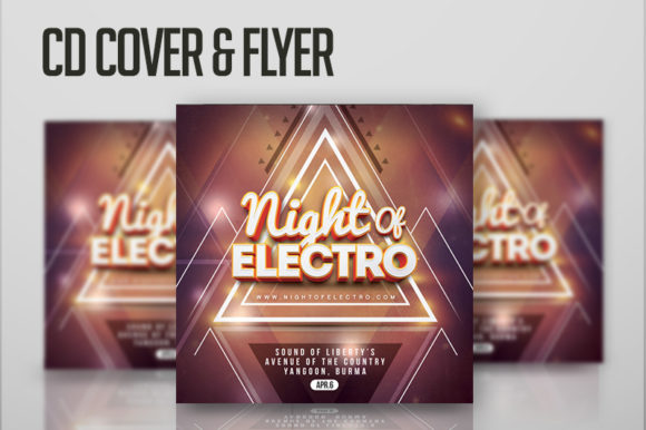 Night of Electro Flyer or CD Cover Graphic Print Templates By n2n44.studio