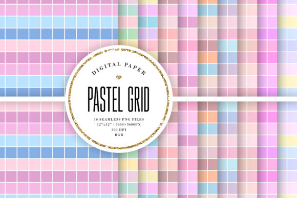 Print on Demand: Pastel Grid Patterns, Check Lined Papers Graphic Patterns By Sabina Leja