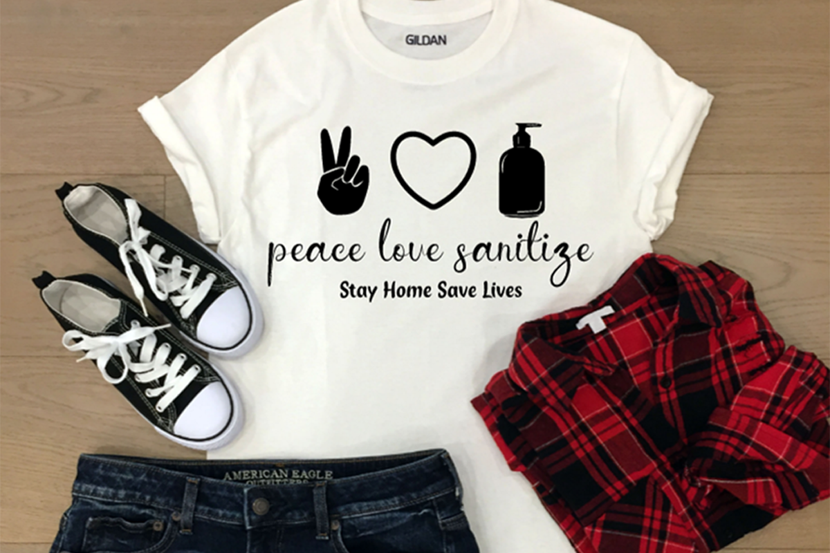 Download Free Peace Love Sanitize Graphic By Jl Designs Creative Fabrica for Cricut Explore, Silhouette and other cutting machines.