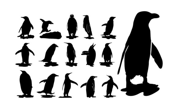 Print on Demand: Penguin with Silhouette Style Set Bundle Graphic Crafts By Arief Sapta Adjie