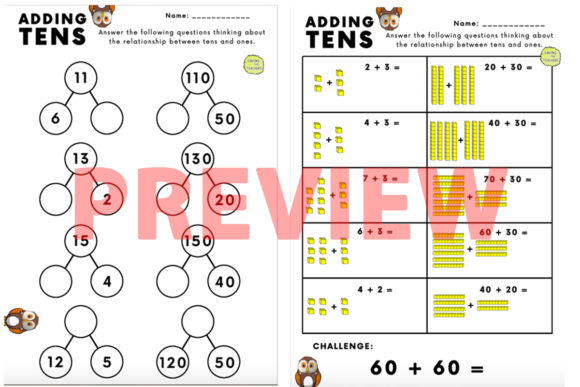 Place Value: Adding Tens Activity Graphic K By Saving The Teachers