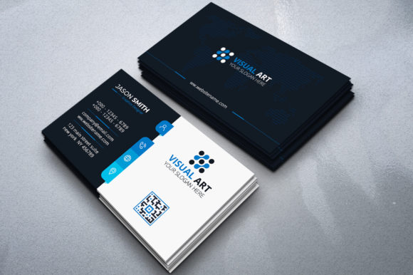 Download Free Professional Blue Business Card Graphic By Medelwardi Creative for Cricut Explore, Silhouette and other cutting machines.