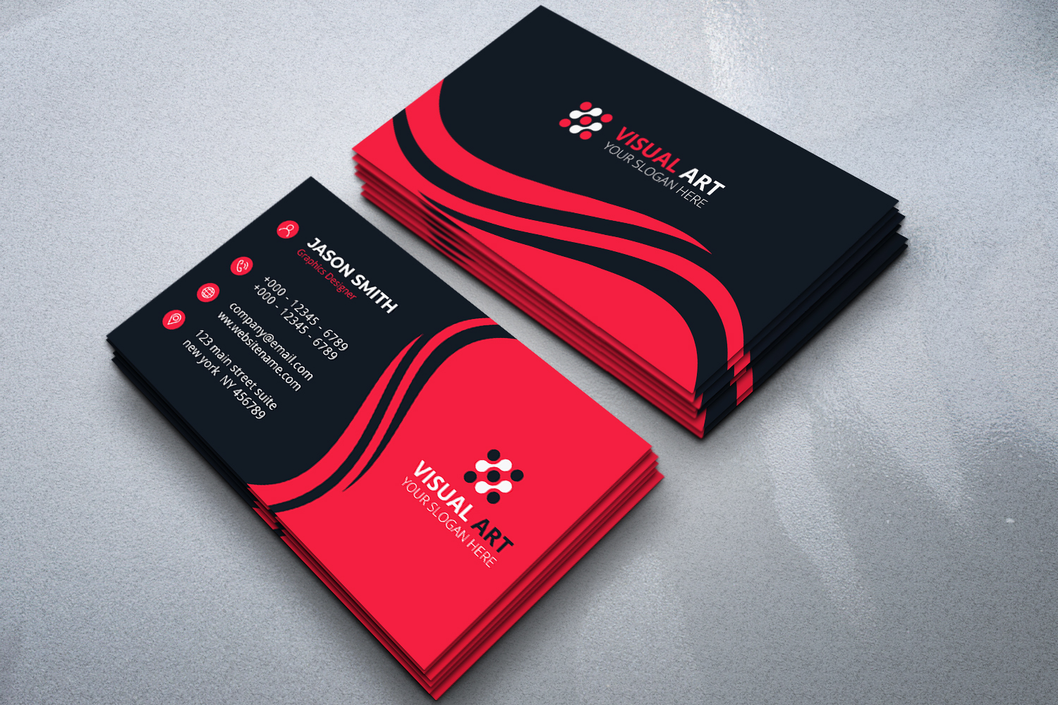 Download Free Red And Black Business Card Graphic By Medelwardi Creative Fabrica for Cricut Explore, Silhouette and other cutting machines.