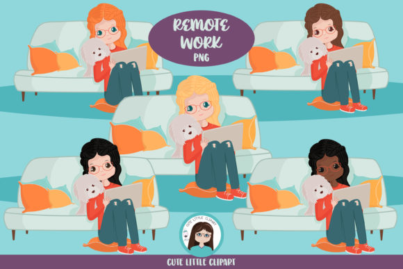 Remote Work Clipart Graphic Illustrations By CuteLittleClipart