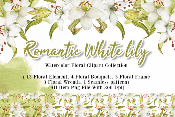 Print on Demand: Romantic White Lily Watercolor Set Graphic Illustrations By OrchidArt