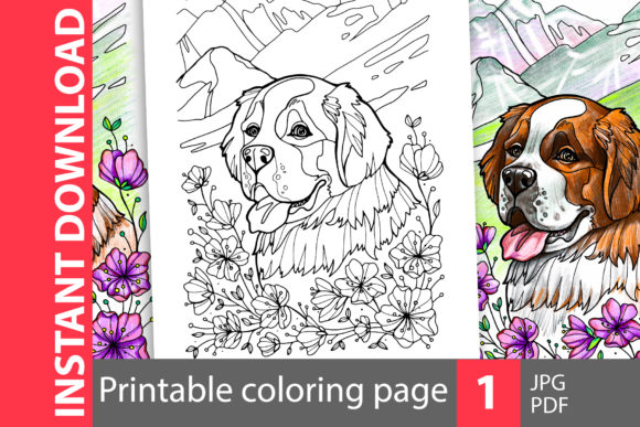 Download Free Saint Bernard Coloring Page Graphic By Natalimyastore Creative for Cricut Explore, Silhouette and other cutting machines.