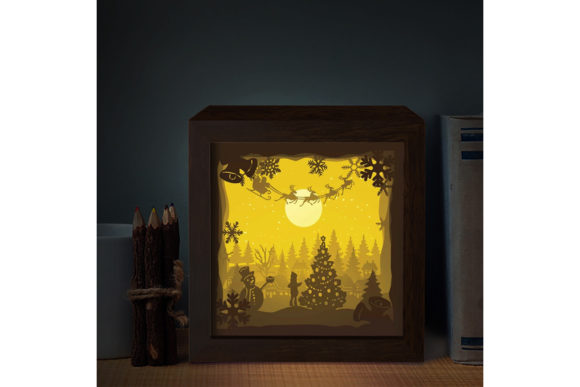 Santa Cabin 3D Paper Cutting Light Box Graphic 3D Shadow Box By LightBoxGoodMan