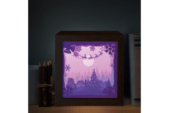 Download Free Santa Cabin 3d Paper Cutting Light Box Grafico Por for Cricut Explore, Silhouette and other cutting machines.