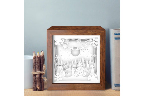 Santa Cabin 3D Paper Cutting Light Box Graphic 3D Shadow Box By LightBoxGoodMan - Image 3