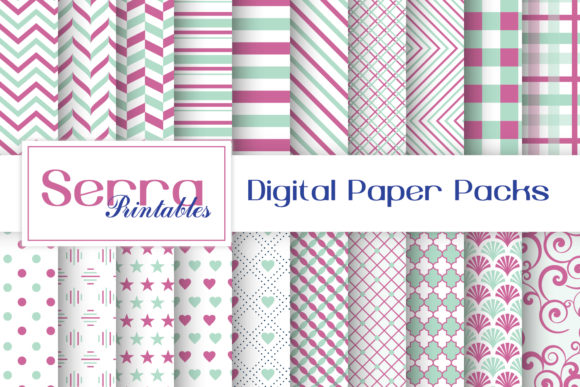 Download Free Seamless Mint And Pink Basic Patterns Graphic By Serradigital for Cricut Explore, Silhouette and other cutting machines.