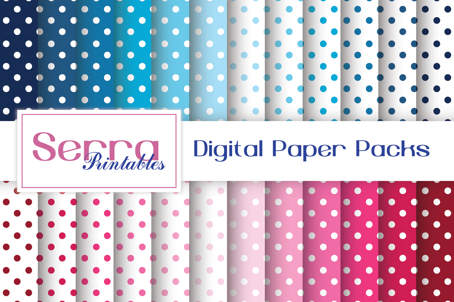Download Free Seamless Polka Dot Digital Paper Pack Graphic By Serradigital for Cricut Explore, Silhouette and other cutting machines.