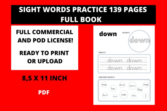 Print on Demand: Sight Words Practice Full Book   Graphic 1st grade By Fleur de Tango