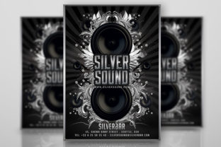 Silver Lounge Party Flyer Graphic Print Templates By n2n44.studio