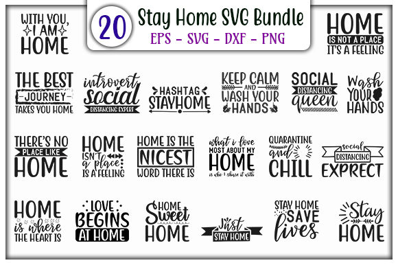 Print on Demand: Stay Home Design Bundle Graphic Print Templates By GraphicsBooth