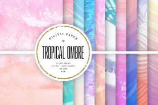 Print on Demand: Summer Backgrounds, Tropical Ombre Graphic Backgrounds By Sabina Leja