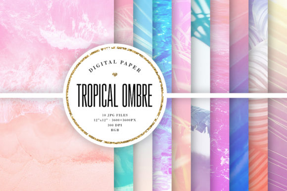 Print on Demand: Summer Backgrounds, Tropical Ombre Gráfico Fondos Por Sabina Leja