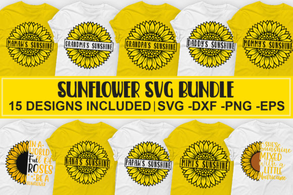 Download Free Sunflower Bundle Graphic By Designdealy Com Creative Fabrica for Cricut Explore, Silhouette and other cutting machines.