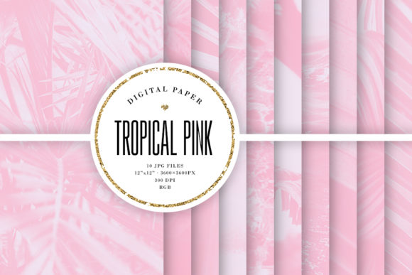 Print on Demand: Tropical Digital Paper, Pink Backgrounds Graphic Backgrounds By Sabina Leja