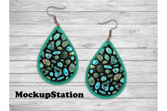 Print on Demand: Turquoise Faux Leather Look Drop Earring Graphic Objects By Mockup Station