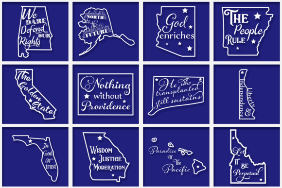Download Free Us States Mottos Bundle Graphic By Anastasia Feya Creative Fabrica for Cricut Explore, Silhouette and other cutting machines.