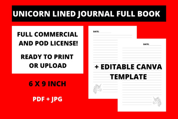 Print on Demand: Unicorn Lined Journal + Canva Template Graphic KDP Interiors By Fleur de Tango