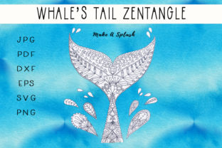 Download Free Whale S Tail Zentangle Color Page Graphic By Capeairforce for Cricut Explore, Silhouette and other cutting machines.