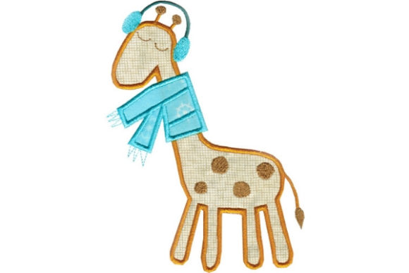 Winter Giraffe Applique Winter Embroidery Design By Sue O'Very Designs