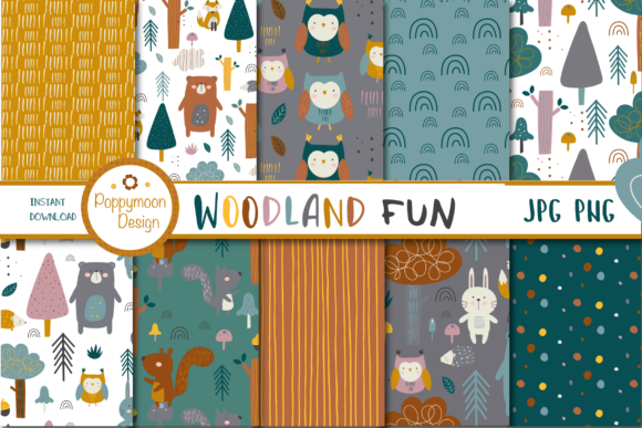 Print on Demand: Woodland Fun Paper Graphic Illustrations By poppymoondesign