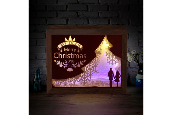 XMAS 3D Paper Cutting Light Box 5 Graphic Download