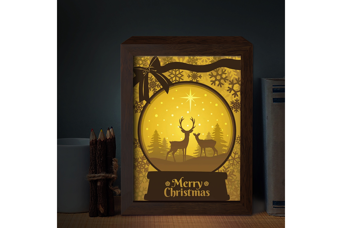 Download Free Xmas 3d Paper Cutting Light Box 7 Graphic By Lightboxgoodman Creative Fabrica for Cricut Explore, Silhouette and other cutting machines.