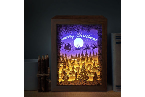 XMAS 3D Paper Cutting Light Box 6 Graphic 3D Shadow Box By LightBoxGoodMan