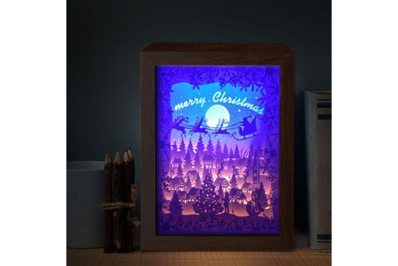 XMAS 3D Paper Cutting Light Box 6 Graphic Download