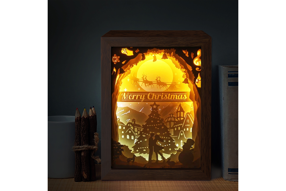 Download Free Xmas 3d Paper Cutting Light Box 4 Graphic By Lightboxgoodman for Cricut Explore, Silhouette and other cutting machines.