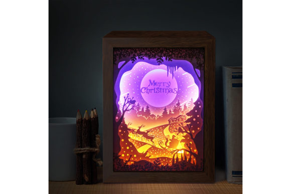 XMAS 3D Paper Cutting Light Box 2 Graphic 3D Shadow Box By LightBoxGoodMan