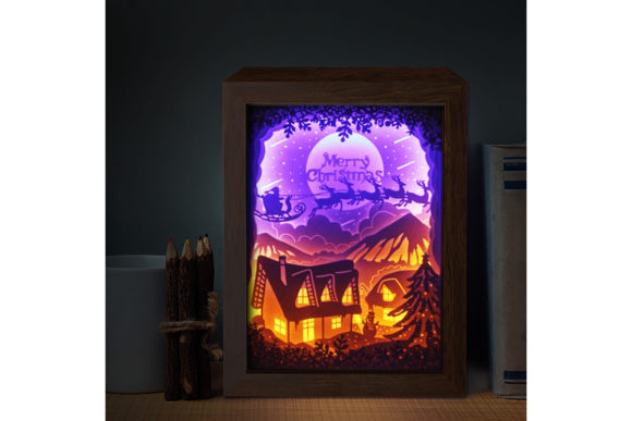 XMAS 3D Paper Cutting Light Box Graphic 3D Shadow Box By LightBoxGoodMan - Image 1