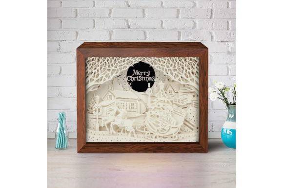 Download Free Xmas 3d Paper Cutting Light Box Graphic By Lightboxgoodman Creative Fabrica for Cricut Explore, Silhouette and other cutting machines.