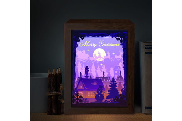 Download Free Xmas 3 3d Paper Cutting Light Box Graphic By Lightboxgoodman for Cricut Explore, Silhouette and other cutting machines.