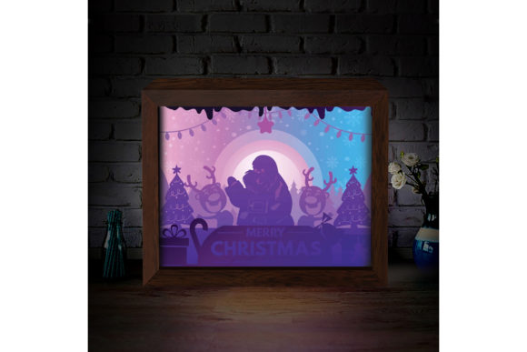 Download Free Xmas 2 3d Paper Cutting Light Box Graphic By Lightboxgoodman for Cricut Explore, Silhouette and other cutting machines.