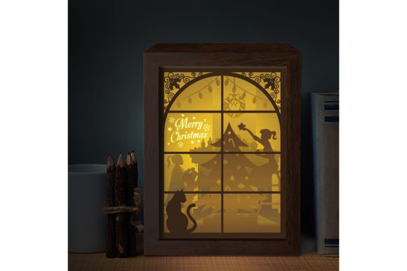 XMAS 3D Paper Cutting Light Box Graphic 3D Shadow Box By LightBoxGoodMan
