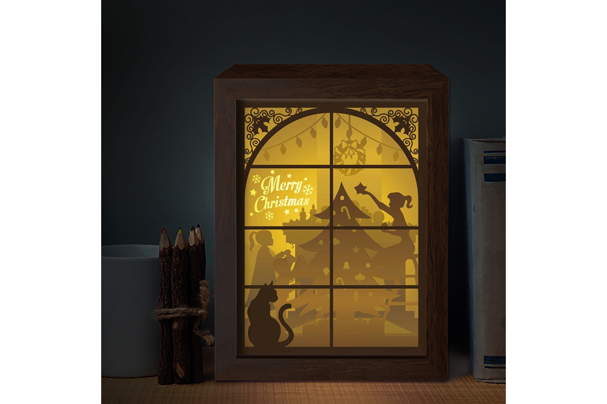 Download Free Xmas 3d Paper Cutting Light Box Graphic By Lightboxgoodman for Cricut Explore, Silhouette and other cutting machines.