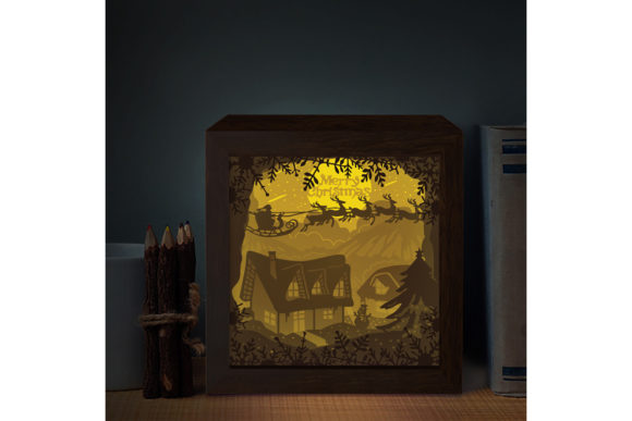 XMAS SQUARE 3D Paper Cutting Light Box Graphic 3D Shadow Box By LightBoxGoodMan