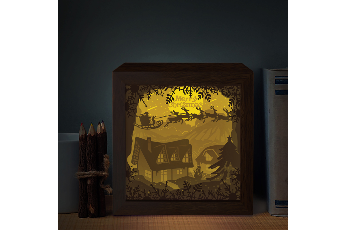 Xmas Square 3d Paper Cutting Light Box Graphic By Lightboxgoodman Creative Fabrica
