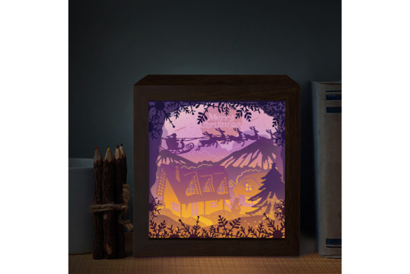 XMAS SQUARE 3D Paper Cutting Light Box Graphic 3D Shadow Box By LightBoxGoodMan - Image 2