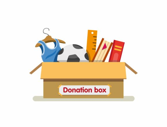 Print on Demand: Books, Toys and Clothing in Donation Box Graphic Illustrations By aryo.hadi
