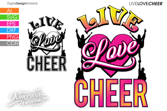 Download Free Live Love Cheer Graphics Quote Graphic By Ninerush Creative for Cricut Explore, Silhouette and other cutting machines.